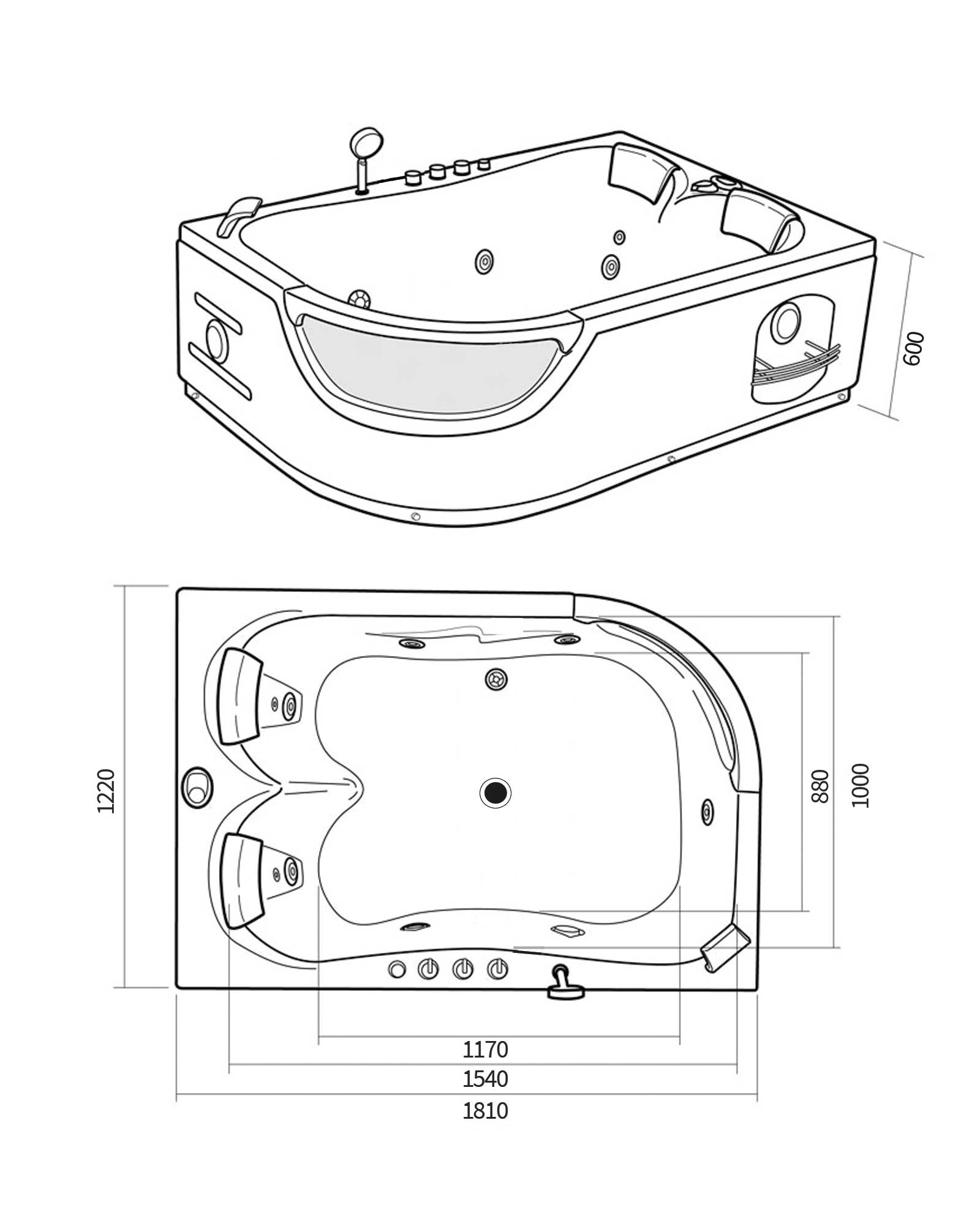 Whirlpool Bath Tub Spa Corner Bath Bathtub Hot Tub Orion