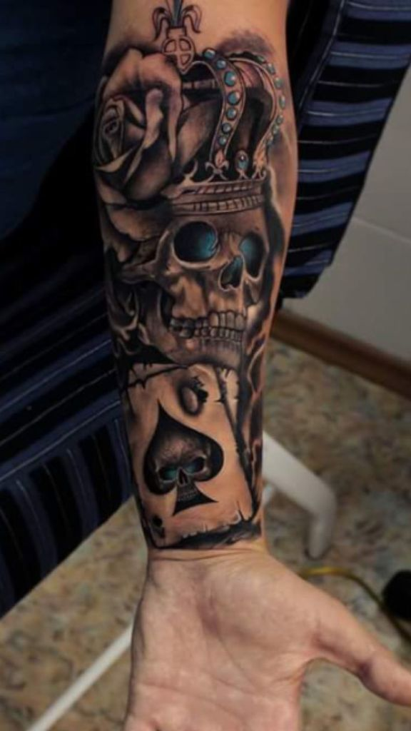 Collection Of 25  Old Fashion Moon Skull Tattoos On Arm