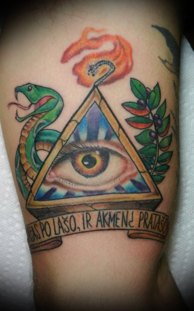 Color Snake And Illuminati Eye Tattoo On Half Sleeve