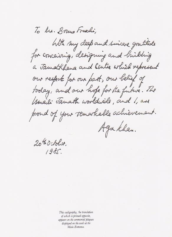 His Highness the Aga Khan's handwritten message to Mr. Bruno Freschi
