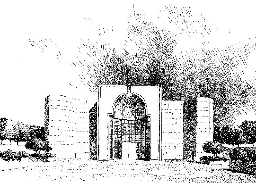"A Sketch of the Burnaby Darkhana Jamatkhana. Foundation Ceremony: July 26, 1982; Opening Date: August 23, 1985. The Aga Khan noted at the Foundation ceremony: ""I succeeded my Grandfather to the office of Imam in 1957, and just two weeks ago on the 11th of July, I entered the twenty-fifth year of my Imamat. During the Jubilee year many new projects will be launched which will impact the material quality of the life of Ismailis and indeed of many others, in the fields of health, education, housing and rural development, particularly in the Third World...But this is the first project to be launched during this Jubilee year and it is very important that it is a place of worship."""
