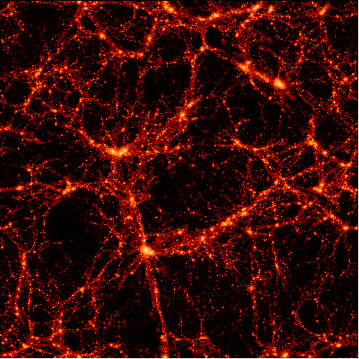 This is a computer simulation of the large-scale structure of the Universe, created by a group of scientists known as the Virgo Consortium. The box