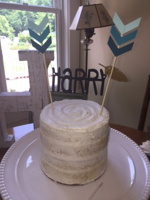 Semi-naked rustic smash cake with pow-wow topper- (Sim)fully Sweet