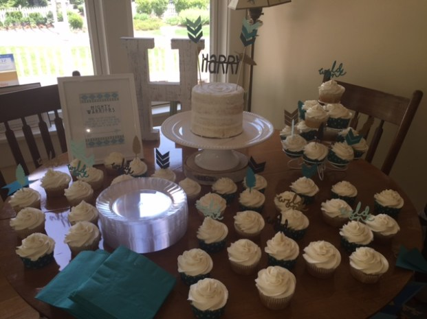 Semi-naked rustic smash cake and cupcakes on cake table - (Sim)fully Sweet