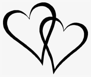 Two Elongated Hearts - Interlocking Hearts Transparent PNG ...