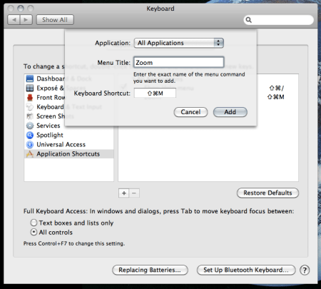 Screenshot of the system prefs window where you set the keyboard shortcut