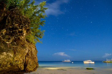 Starry night sky on Bohol Island in the Philippines