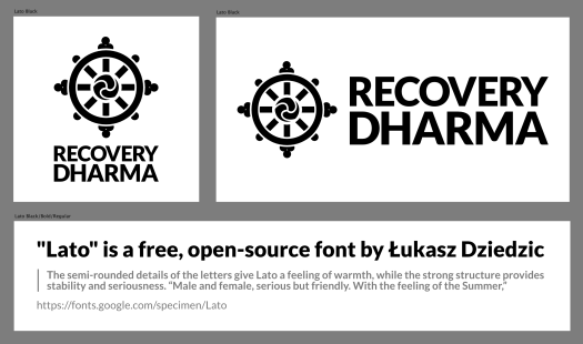 Mockup of several versions of a Recovery Dharma logo as seen in a design application