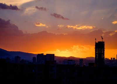 Photo of an orange sunset in mexico city