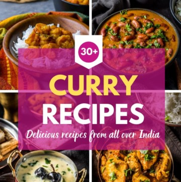 A collage of 4 pictures of Indian curries