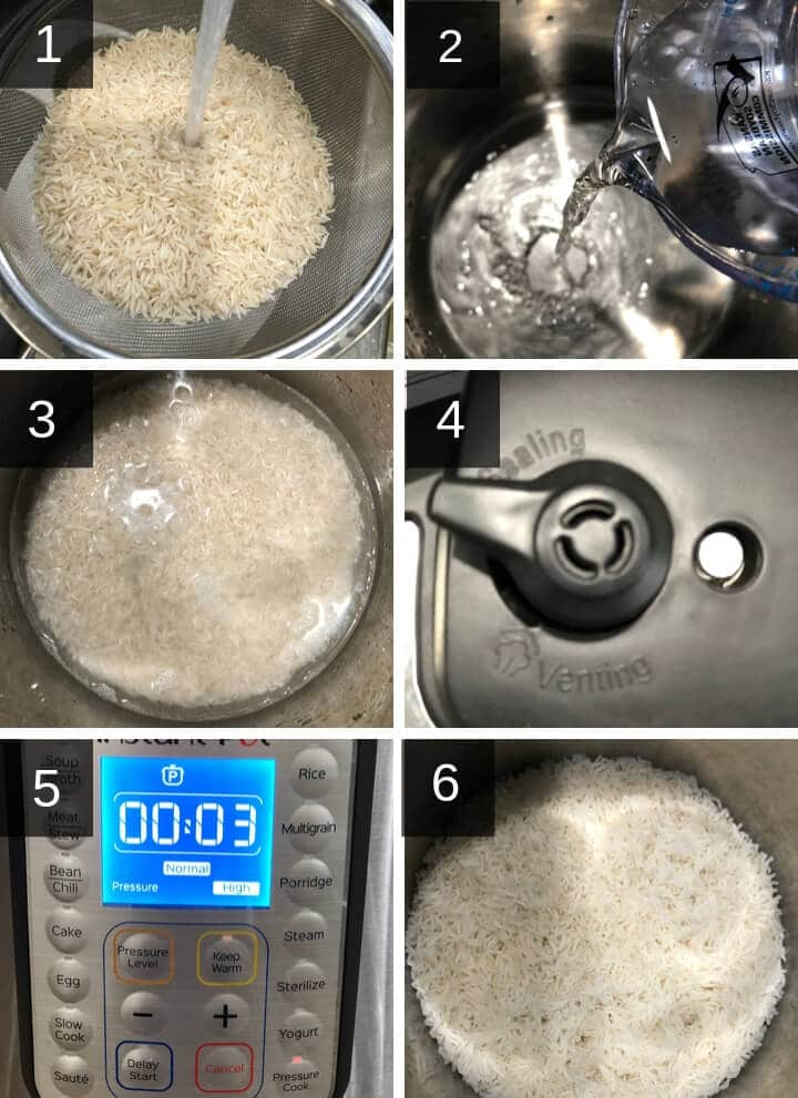 A collage of images depicting step by step images to make Basmati rice in the Instant Pot