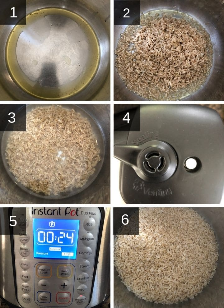 A collage of image showing steps to make brown rice in Instant Pot