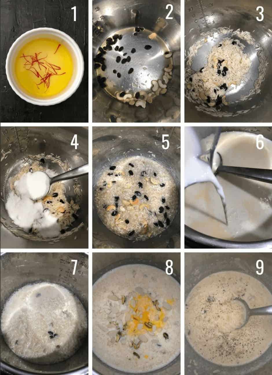 A step by step guide of how to make Indian Rice Pudding in an Instant Pot.