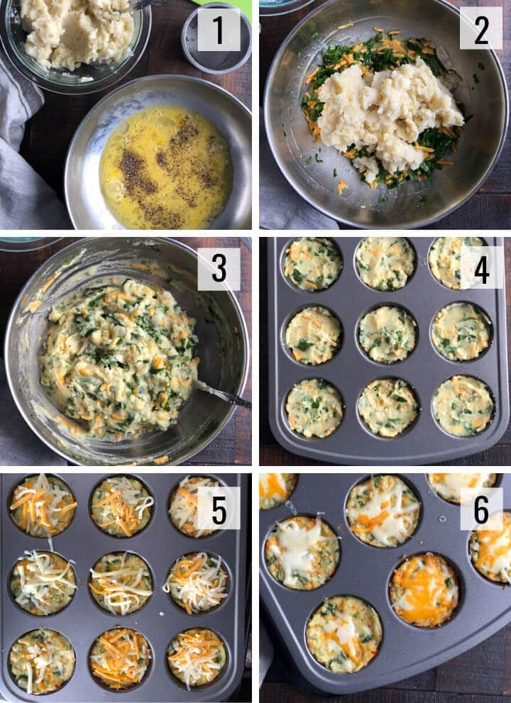 A collage of images showing step by step images to make Leftover mashed potato muffins