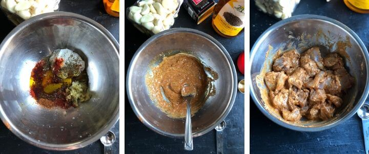 Steps to make Tandoori Chicken Tikka Marinade depicted in a collage