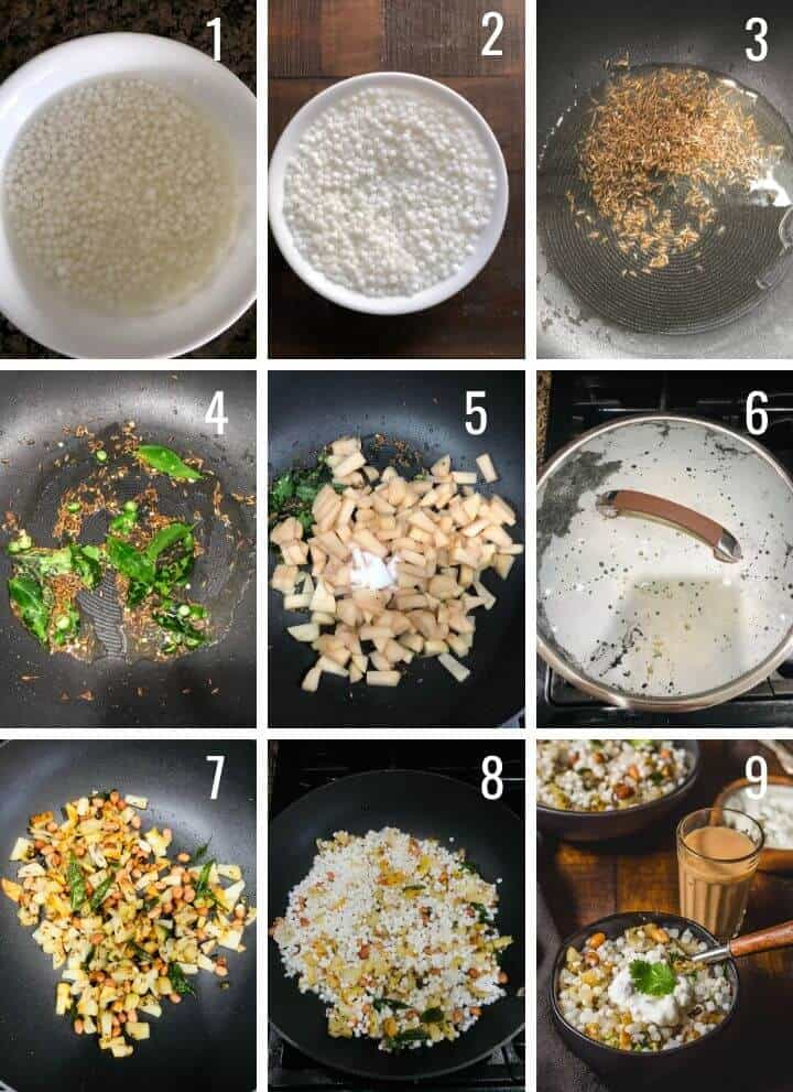 A collage of images depicting how to make sabudana step by step