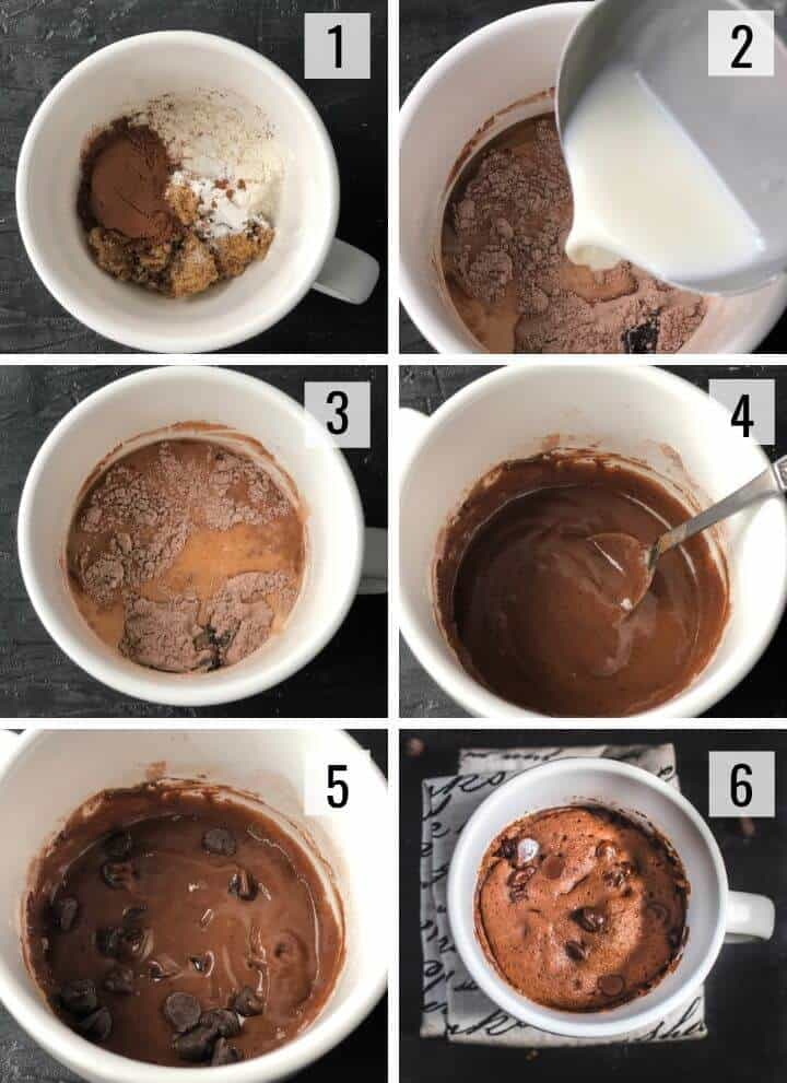 A collage of images showing how to make mug cake