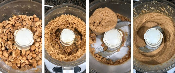 A collage of images showing different stages of Peanut butter while being ground