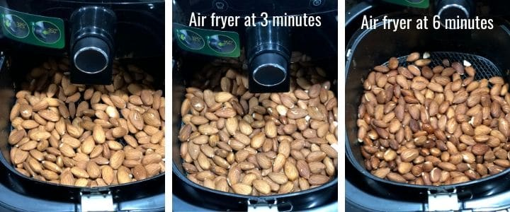 A collage of 3 images showing how to roast almonds in the air-fryer