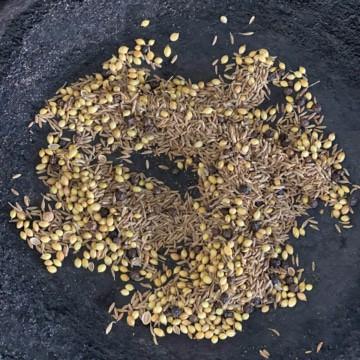 Coriander, cumin and peppercorns roasted in a cast-iron pan