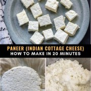 A light blue plate with cubes of paneer at the top, the words Paneer (Indian Cottage Cheese) How To Make in 20 Minutes in the middle, and two steps for how to make paneer at the bottom. A wheel of paneer in cheesecloth on the left and a the paneer before being pressed on the right.