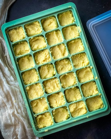 Ginger Garlic paste stored in ice cube tray