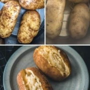 The words instant pot at the top in white with the words how to boil potatoes in yellow below with three pictures the top left picture shows 4 potatoes in the instant pot before cooking, the top right photo shows potatoes in the instant pot after cooking and the bottom photo shows two boiled potatoes on a blue plate cut vertically down the middle.
