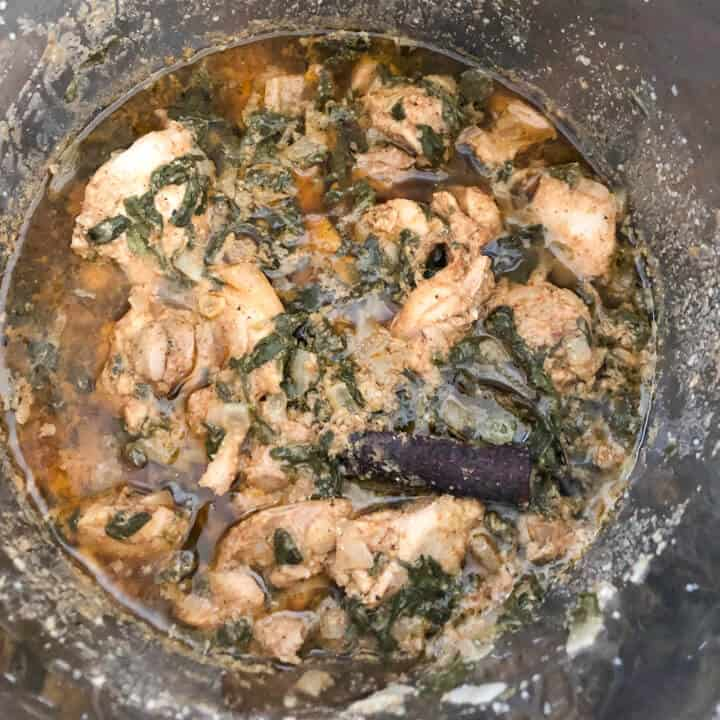 Cooked methi murgh in the instant pot.