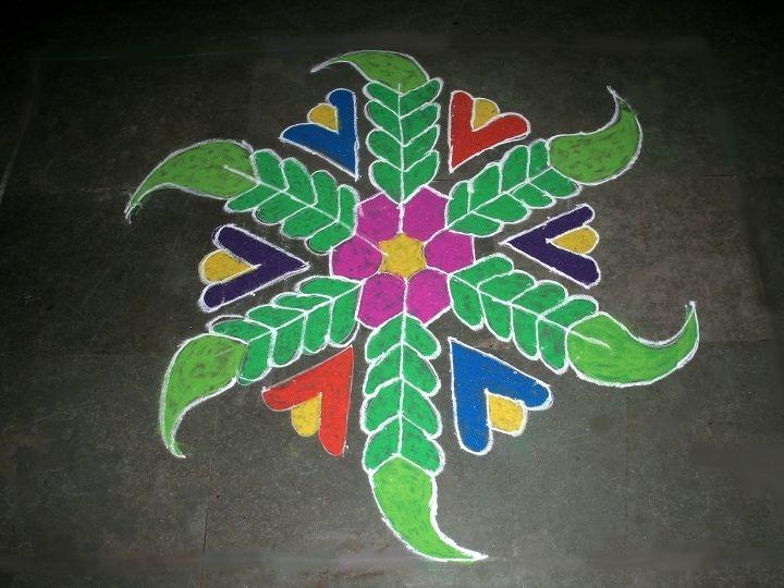 Rangoli drawn from colored powder