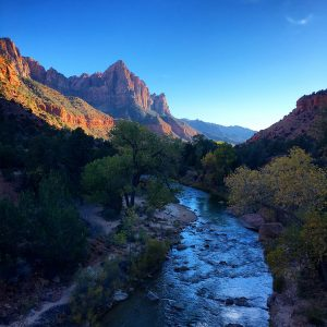 The Virgin River and the Watchman at Zion National Park, October.