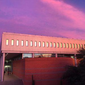 The University of Arizona's McClelland Hall at sunset.