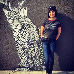 Standing around the public art in Venice, California.