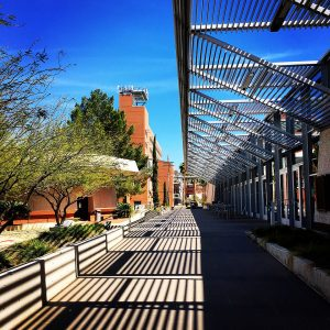 Walkway at the James E. Rogers College of Law at the University of Arizona.