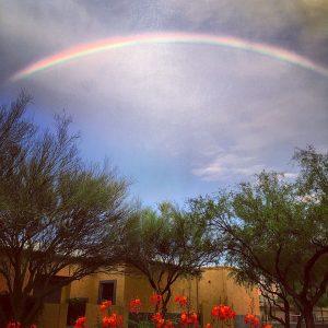 A summer rainbow above Civano.