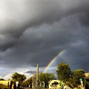 Monsoon storm rainbow over the roundabout.