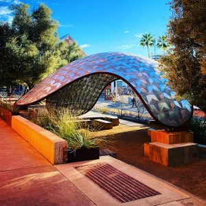 The Sonoran Pentapus in front of the University of Arizona's College of Architecture, Planning and Landscape Architecture.