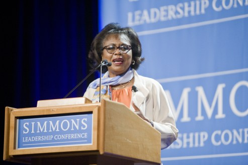 Anita Hill speaks at the Simmons Leadership Conference