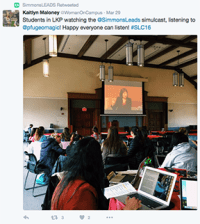 @WomenOnCampus shares a photo of Simmons Students watching the conference over simulcast
