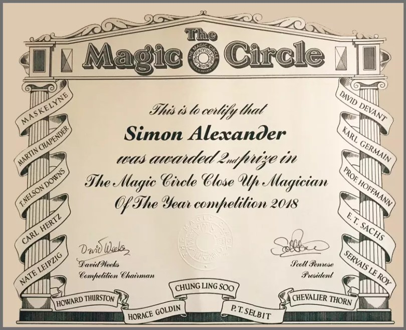 Simon Alexander Close-Up Magician of The Year Certificate