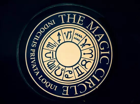 The Magic Circle Logo on the door of the London Headquarters