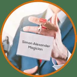 Trade Show Magician Simon Alexander Name badge
