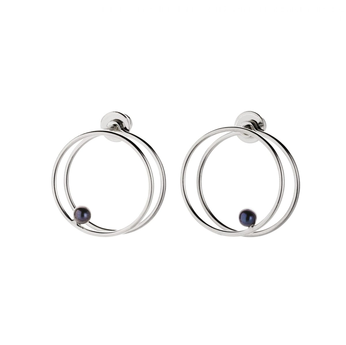 Black Pearl Double Circle Earrings