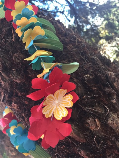 Stampin' Up! paper lei. Flower lei, Stampin' Up! style. Come and join us on a Hawaiian themed blog hop!   www.simonebartrum.com
