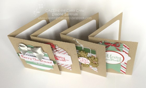 Christmas cards made with the Oh What Fun tag project kit by Stampin' Up! + Crumb Cake notecards.