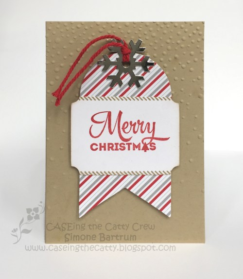 Merry Christmas card. Made with the Oh What Fun tag project kit by Stampin' Up! + Crumb Cake notecard.