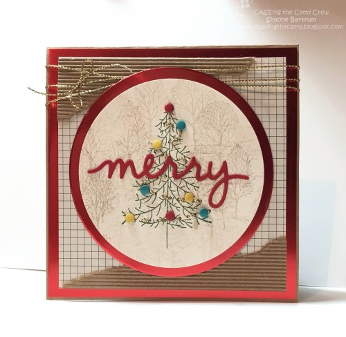 CTC 59 - Theme: Trees from the Stampin' Up! Holiday Catalogue 2015. Red foil, corrugated paper, and stitched gold cording thread.