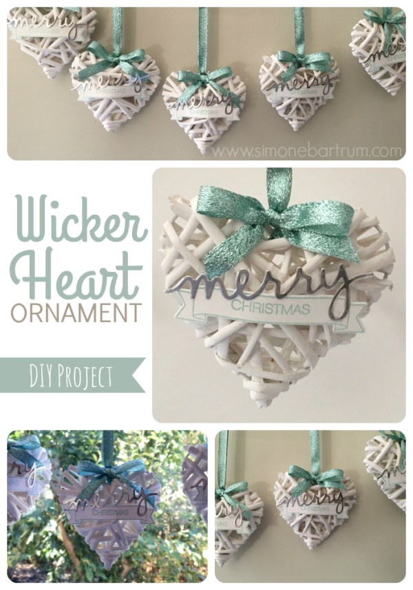 Wicker Heart Ornaments, made from a garland of woven wicker hearts from Kmart. See Wicker hearts ornament. For details visit https://simonebartrum.com/cards/diy-project-wicker-ornament/ for more info.
