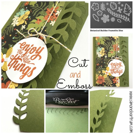 Cut and Emboss Technique. Cut out the leafy vine die on card front, then run the closed card back through the Big Shot with no dies and just a shim. The cut front embosses the back layer! Such a great effect. More details at www.simonebartrum.com.
