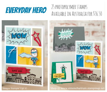 Comic Strip card. Everyday Hero stamp set by Stampin' Up! - www.simonebartrum.com