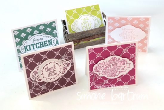 "Label Me Pretty stamp set and punch bundle. These cards are 3x3"" and fit perfectly in the Wood Crate framelits. https://simonebartrum.com/cards/ctc131"